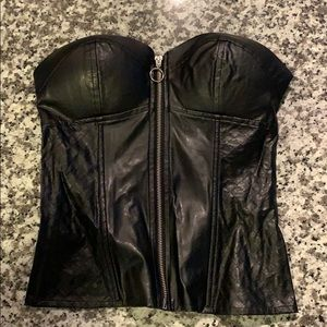Charlotte Russe padded black leather bustier
